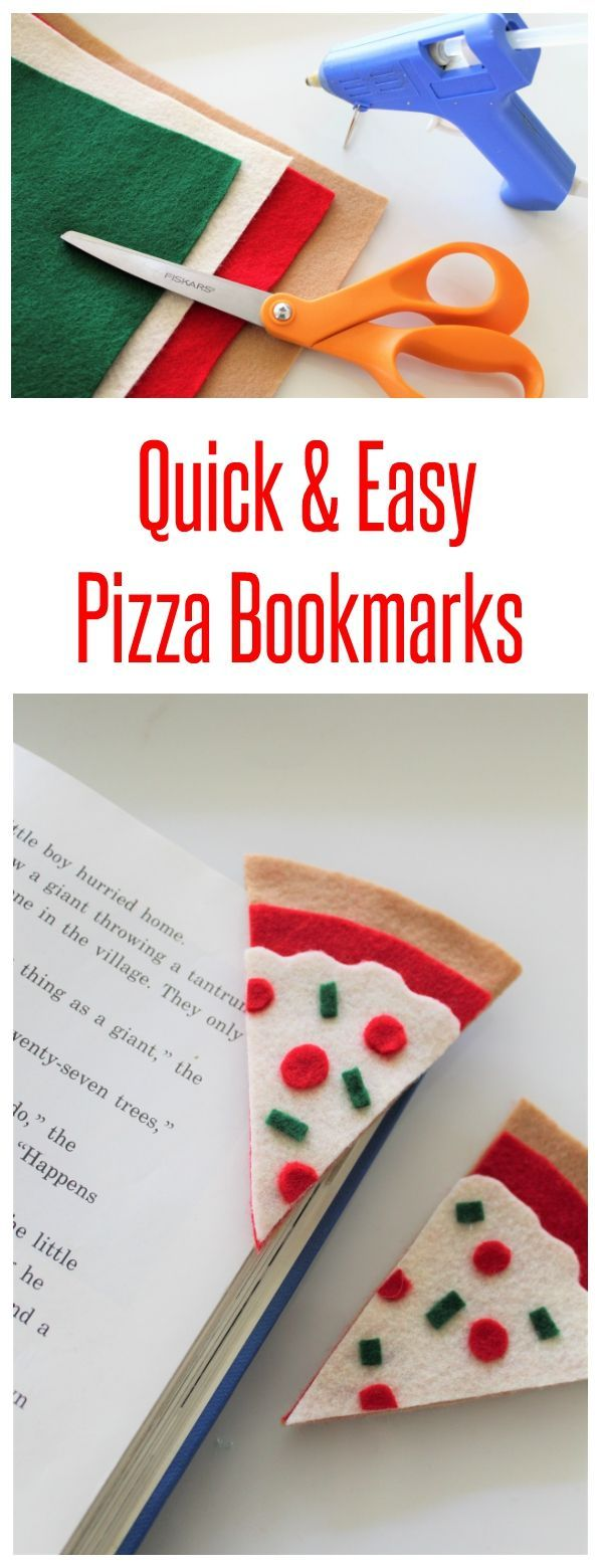 Easy no sew felt pizza bookmark craft! Fun craft for both tweens and adults for back to school. #ad