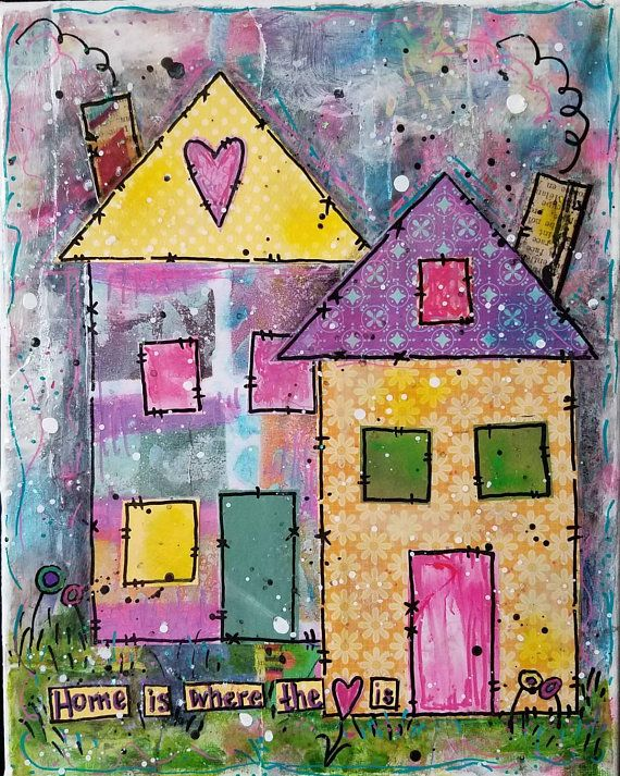 Check Out This Item In My Etsy Shop Https Www Etsy Com Listing 600583424 Home Is 8x10x5 Art Mixed Media Collage Mixed Media Canvas Collage Art Mixed Media