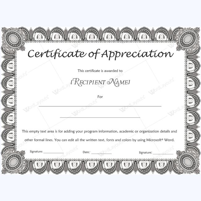 26 best Certificate of Appreciation Templates images on Pinterest - microsoft word award template
