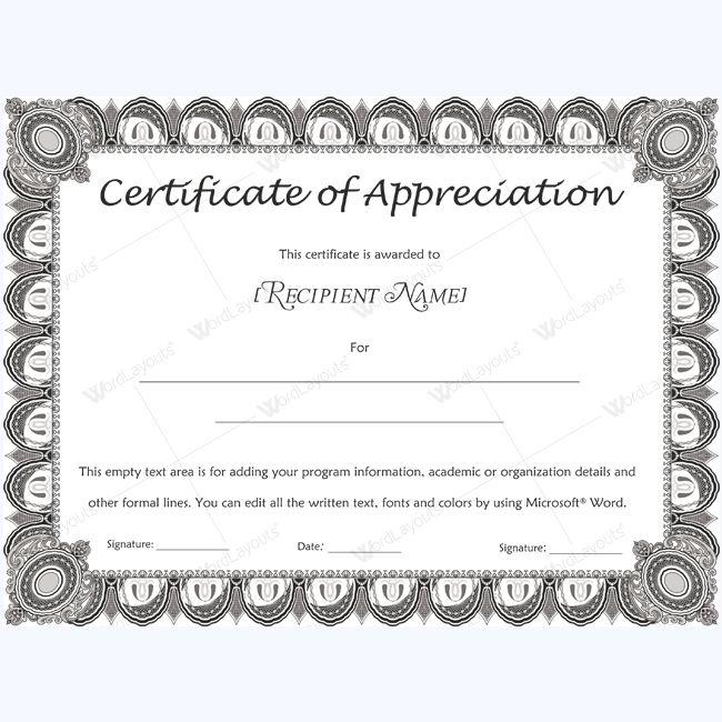 26 best Certificate of Appreciation Templates images on Pinterest - certificate of appreciation words