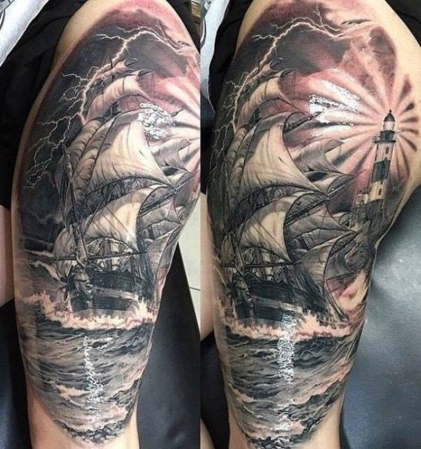 Ship with lighthouse lake Tattoo  - http://tattootodesign.com/ship-with-lighthouse-lake-tattoo/  |  #Tattoo, #Tattooed, #Tattoos