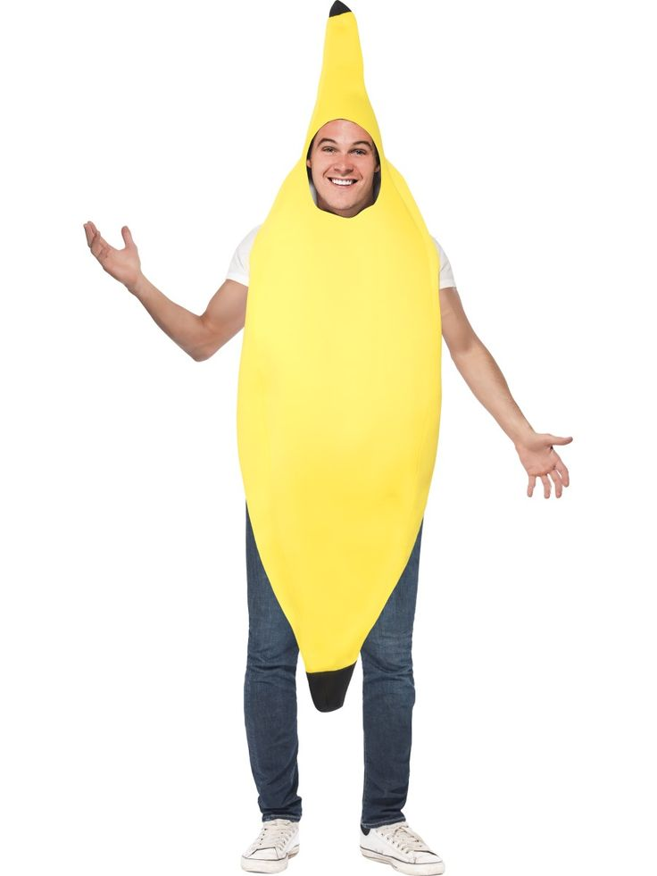 Naamiaisasu; Banaani. Pään yli puettava asu.