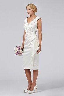 Sheath/Column V-neck Tea-length Satin Mother of the Bride Dress