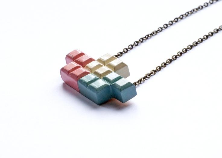 Tricolour Tetromino pendant at Hello Pretty