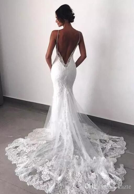 Sexy New Backless Lace Beads Wedding Dresses 2019 Spaghetti Straps Mermaid Layers Appliqued Boho Bridal Gowns – a girl has no name –