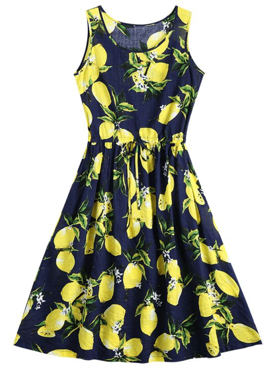 Lemon Print Drawstring Sleeveless Dress - DEEP BLUE M-- such a sweet summer dress