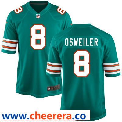 fbab010ee ... shop mens miami dolphins 8 brock osweiler aqua green alternate stitched  nfl nike game jersey 1bec7