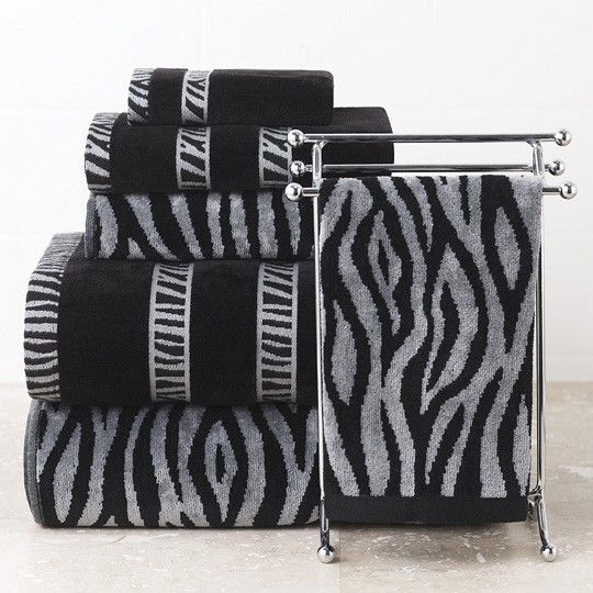 Zebra Print And Solid Towel Collection $0.00