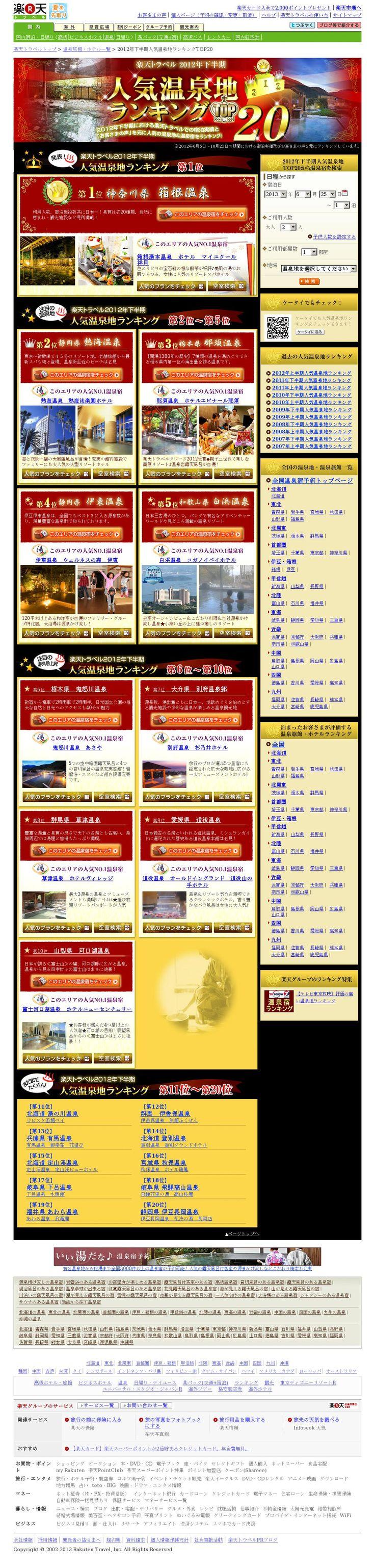【D】【常設】2013上半期人気温泉地ランキング<2013/06/25>