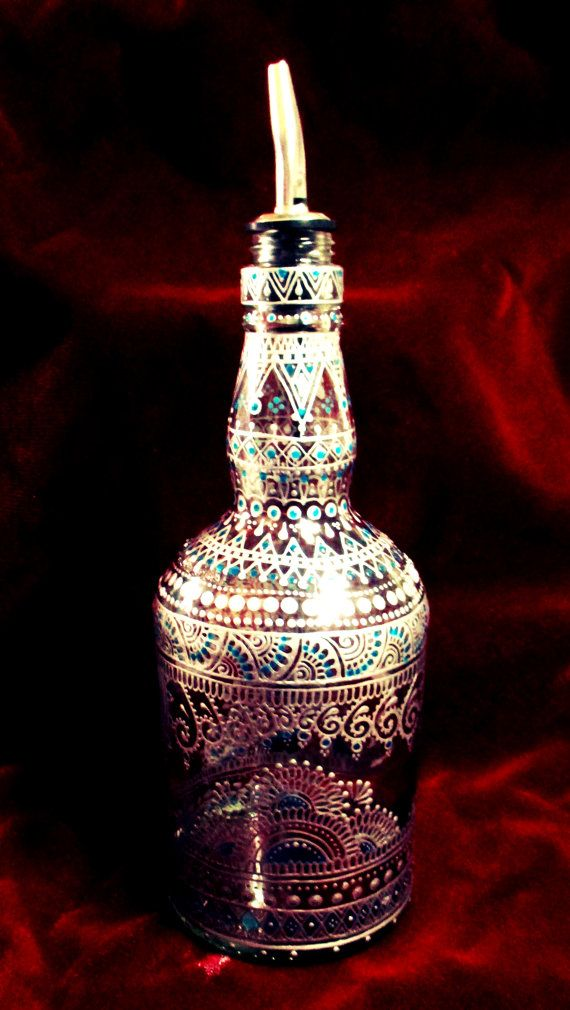 Hand-Painted Silver Turquoise Henna Mehndi Whiskey by Behennaed  #oliveoil…
