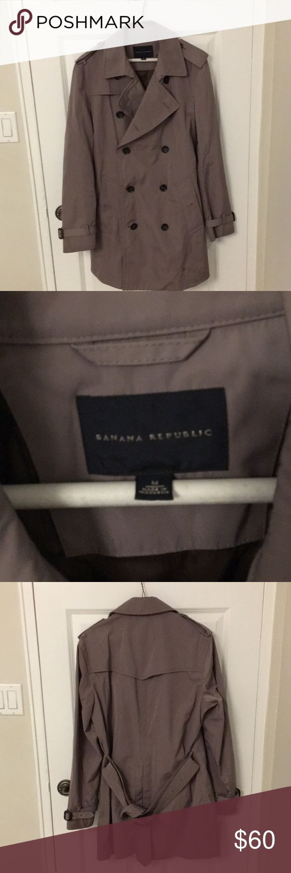 Men's Banana Republic Trench Coat Mens medium banana republic trench/rain coat. the coat is a khaki/taupe color and there is a small stain at the bottom left side of the coat (as seen in picture). the coat has a belt and is double breasted. Banana Republic Jackets & Coats Trench Coats