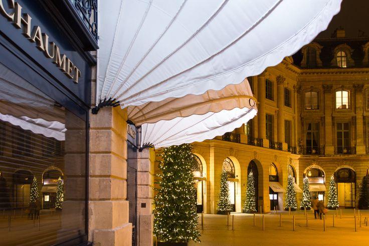 Luxury shops Place Vendome: Paris dressed for Christmas.