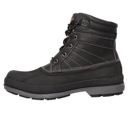 Skechers Work Men's Robards Memory Foam Waterproof Duck Boots (Black Leather) - 11.0 M