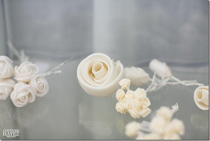 rose bianche avorio  per capelli sposa