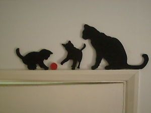 Cat Silhouette On Door | Cat & Kittens Playing Door Topper wooden Silhouette Wall Art Easy Fix ...
