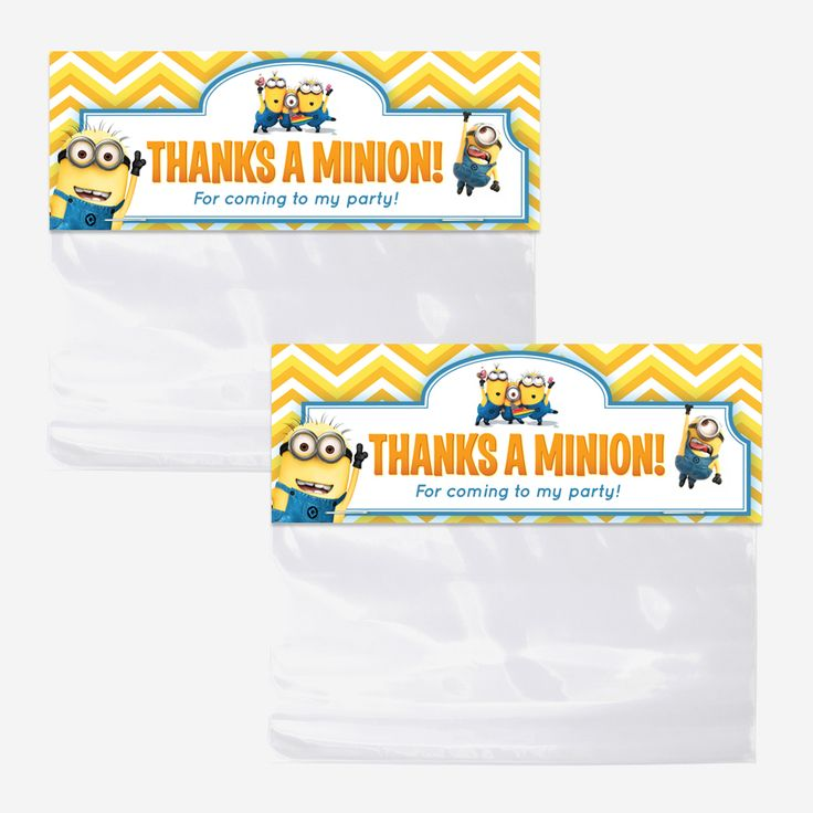 despicable me minions bag toppers  printable favor bag