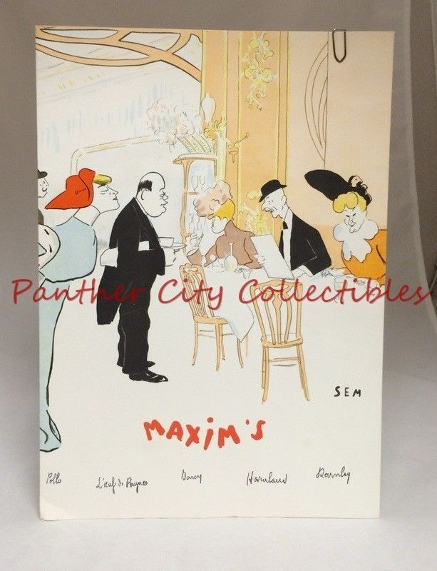 Vintage French Restaurant Menu Maxim's Paris + 2 Intercontinental Paris Menus