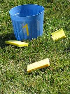 SPLASH GOLF: We went to the Dollar Tree and bought 6 buckets.  I cut vinyl numbers, 1-6, with my Silhouette Die Cut Machine.  // We filled the baskets with water, and each kid grabbed a sponge.  The rules are the same as golf.  You count how many throws it takes to get to the bucket.  Once you get to the next hole, you have to squeeze the sponge full of water over your head how ever many throws it took to get to the hole.