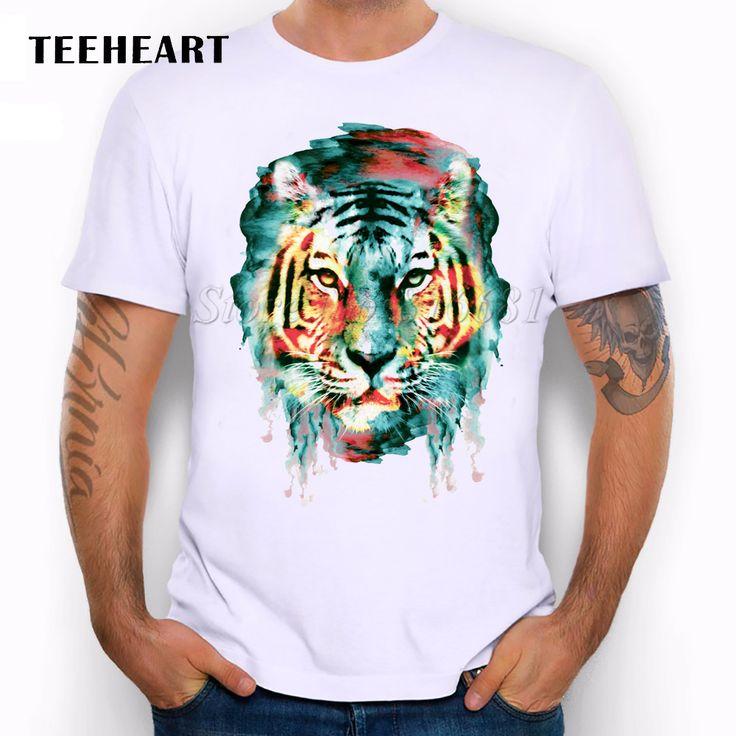 Nuevo 2016 Verano Personalizada león/lechuza/lobo/tiger/cat acuarela animales de Diseño Camiseta de Los Hombres gráficos de impresión Tops Hipster Camisetas en   de   en AliExpress.com | Alibaba Group