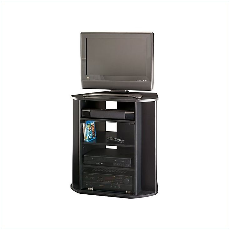 Bush Myspace Visions Tall Corner TV Stand in Black Finish - MY37927-03 - Lowest price online on all Bush Myspace Visions Tall Corner TV Stand in Black Finish - MY37927-03