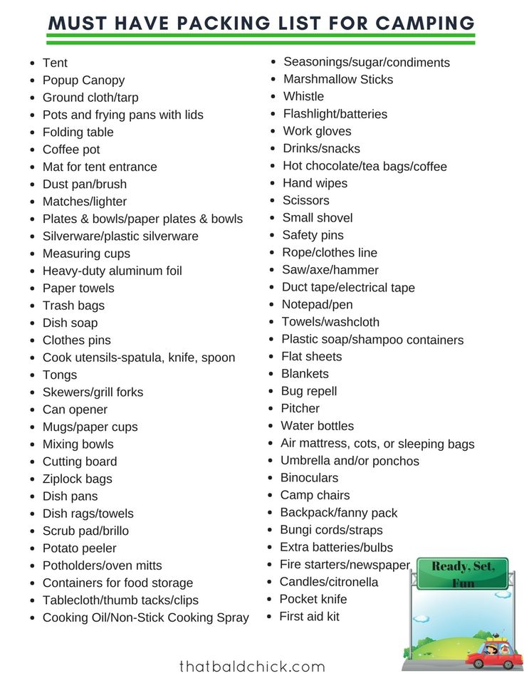 Make sure to pack this camping gear before taking off.  Free printable checklist to keep you sane.