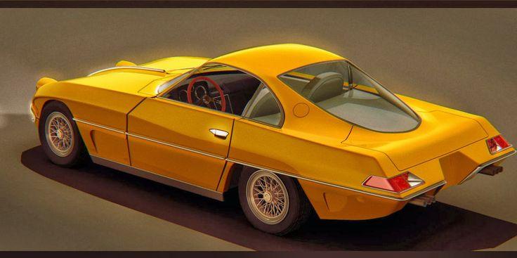 Foto Mobil Keren Lamborghini 400GT Yellow 3D