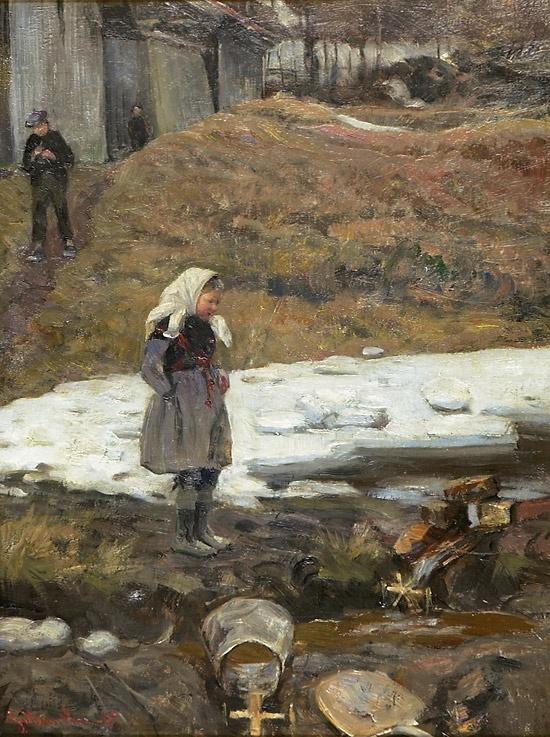 Gerhard Munthe (Norway, 1849-1929): Vårvind Sandvika 1887