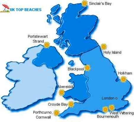 UK Map showing its beaches
