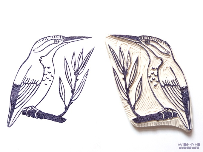 Kingfisher stamp  --  eraser stamp