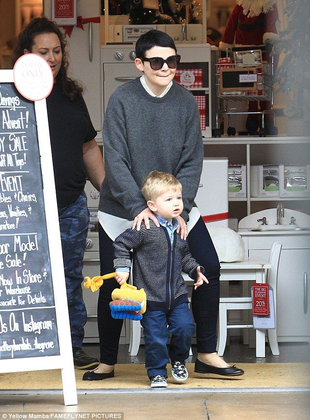 A day out: Ginnifer Goodwin was spotted on Monday taking her two-year-old son Oliver on a day out in The Grove in Los Angeles