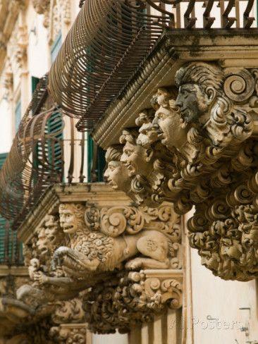 Baroque Details of the Palazzo Villadorata, Palazzo Nicolaci, Noto, Sicily, Italy