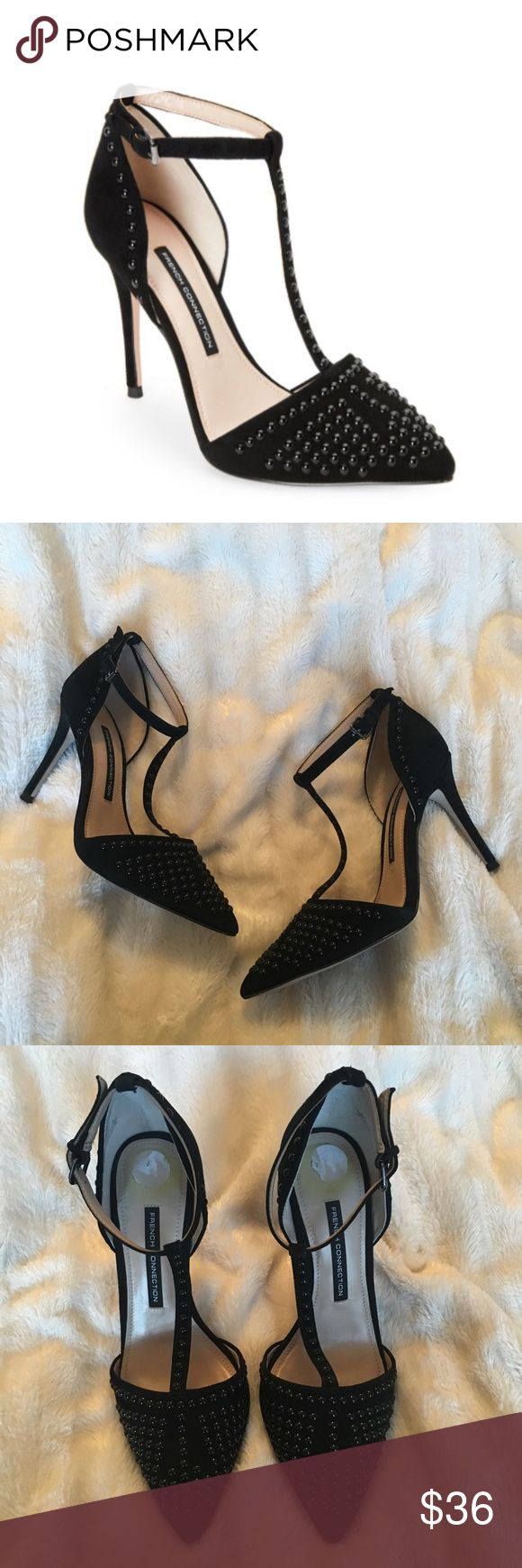 """French Connection Black """"Elanah"""" Studded Heels In good condition, only worn a handful of times. Has some writing on the bottom and fragments of the size sticker where your heels goes. Super chic shoes, perfect for spicing up an outfit. Suede upper. French Connection Shoes Heels"""