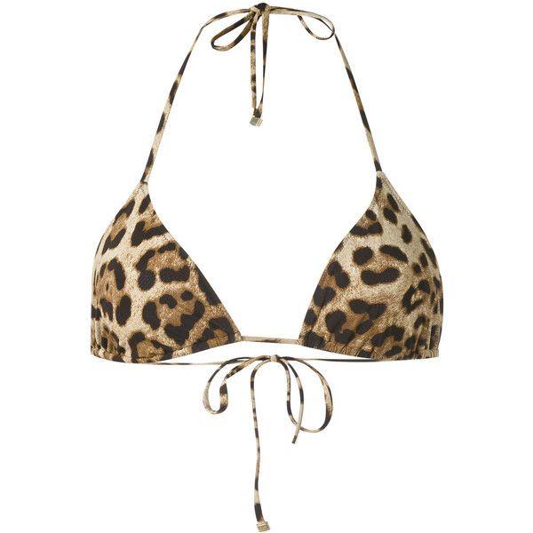 Dolce & Gabbana leopard print triangle bikini top ($315) ❤ liked on Polyvore featuring swimwear, bikinis, bikini tops, beige, tankini tops, spandex swimwear, leopard swimwear, triangle bikinis and triangle swim wear