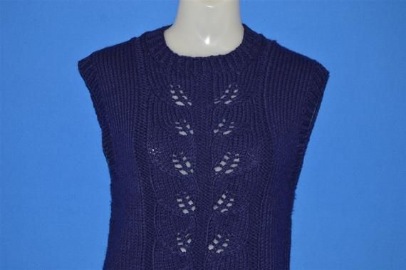 70s Blue Leaf Cable Knit Women's Sweater Vest Small