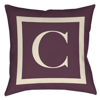 "Red Barrel Studio Lansdowne Outdoor Pillow Cover Size: 20"" H x 20"" W x 5"" D, Color: Eggplant, Letter: C"