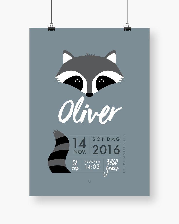 Minimalistisk fødselsplakat med vaskebjørn #minimals #fødselsplakat #birthposter #fødselstavle #raccoon #dustyblue