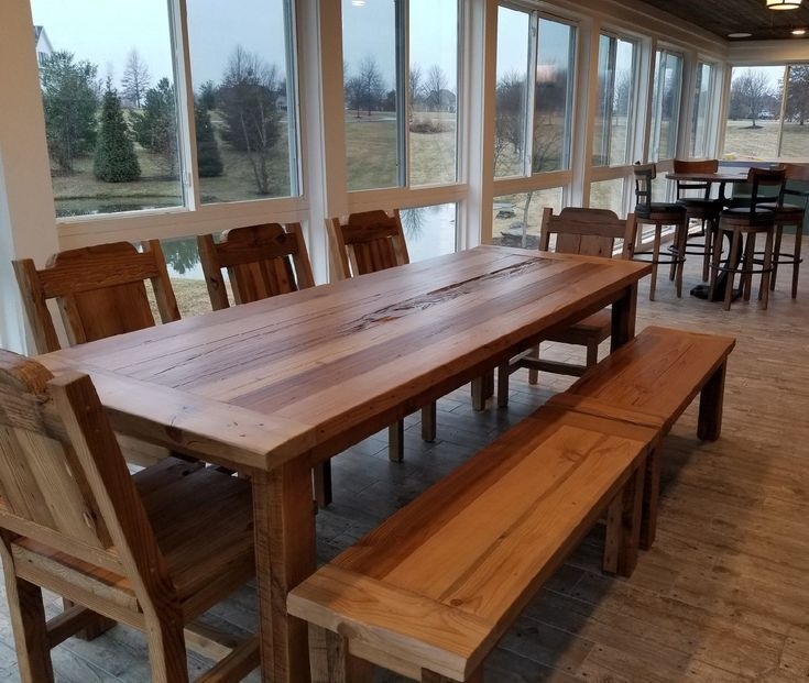 Reclaimed Wood Farm Table Benches And Chairs Barnwood