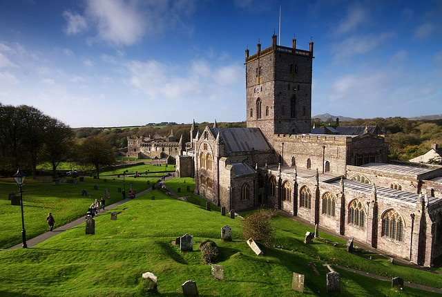 Cathedral of St David, Wales  with Bishops Palace beyond.