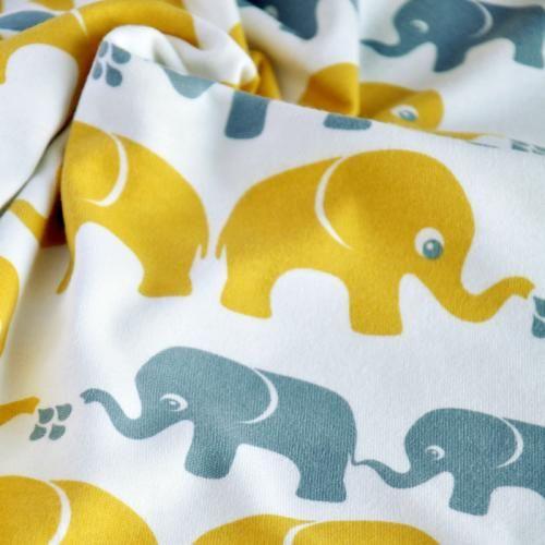 bio interlock elefanten gelb grau nosh organics bio jersey stoffe kinder stoffe pinterest. Black Bedroom Furniture Sets. Home Design Ideas