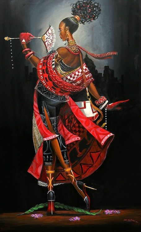 PAINTING+THE+TOWN+RED+WITH+ELEGANCE-DELTAS-AFRICAN+AMERICAN+ART-FRANK+MORRISON+#Realism