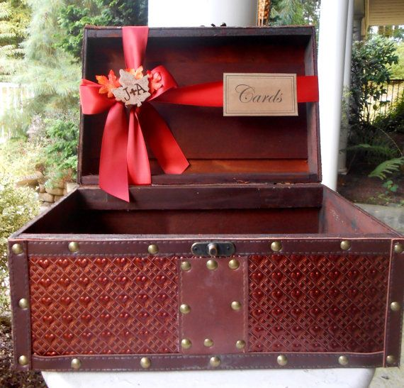 "Old suitcase or ""treasure chest"" for the cards!"