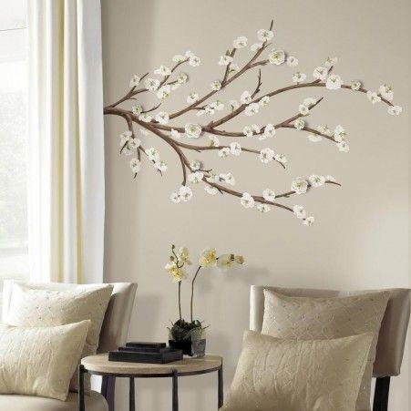 Αυτοκόλλητα τοίχου με άσπρα λουλούδια σε κλαδιά από τη συλλογή Roommates.