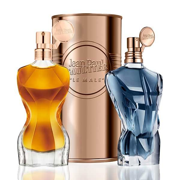 Jean Paul Gaultier Le Male and Classique - Les Essences de Parfum ~ Classique Essence de Parfum starts with a fresh spicy note of ginger. The heart of Sambac jasmine and orange blossom is placed on a sultry base of precious woods, vanilla and chantilly cream. The faceted glass bottle of the perfume features reduced breasts and more pronounced hips in comparison with the original. The fragrance is created by Daphne Bugey.