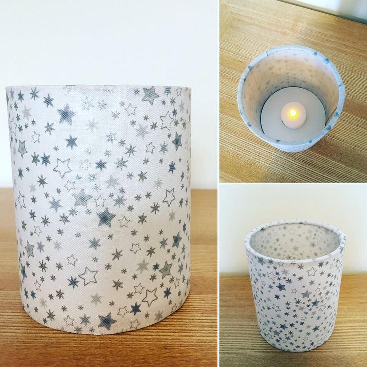 Handmade Fabric tea light lantern. Silver stars. Perfect for christmas by CandCHomecrafts on Etsy