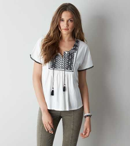 AEO Embroidered Peasant Top. Show us your #AEOStyle on Instagram for a chance to be featured on AE.com