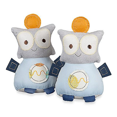 These adorable robot bookends will complement your nursery bookshelves. They feature big round eyes and a light blue fabric. They coordinate with the Baby Bot Crib Bedding Collection.