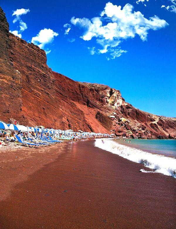 Santorini's famous Red Beach