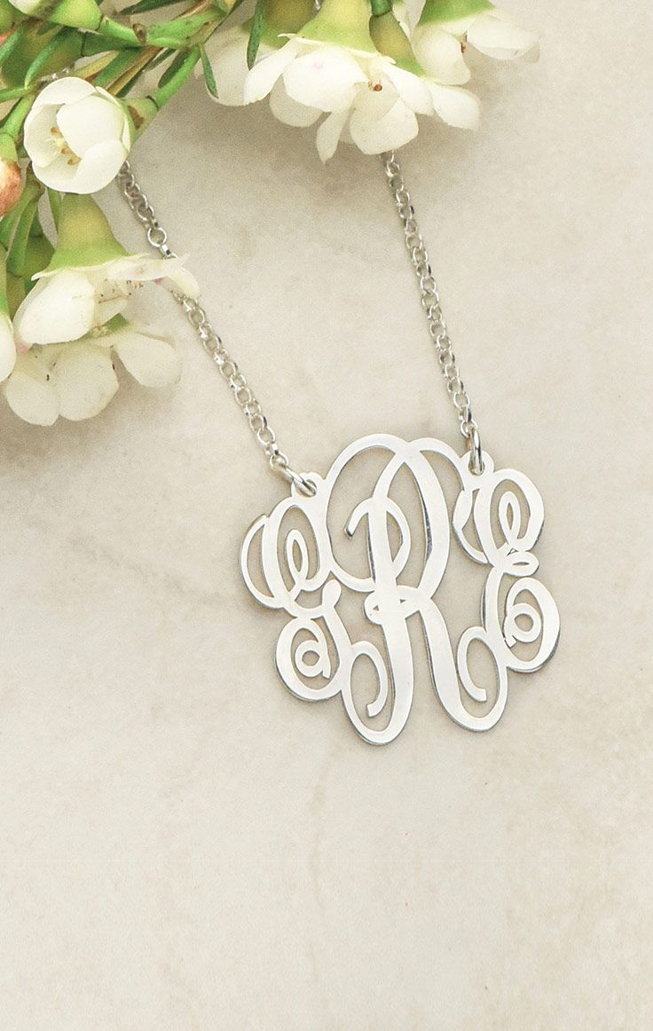 Looking for a monogrammed necklace that shows who you are but in a unique way? Then you will definitely like the Fancy Sterling Silver Monogram Necklace! Measuring at one inch, this monogram initial necklace offers the opportunity to wear up to three initials in a stylish yet subdued fashion. If you are looking for that perfect chic monogram statement piece, this is the perfect choice! And it makes for a great gift!   A perfect mothers day necklace!