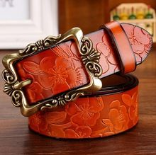 [TG] livre o Navio boa couro genuíno das mulheres cintos de metal fivela de cinto para as mulheres do vintage flor de couro de vaca strap feminino cintura(China (Mainland))