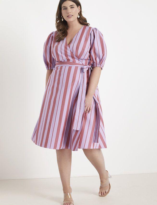 Opposing Stripes Wrap Dress Lavender Wine In 2020 Plus Size Dresses Wrap Dress Ebay Dresses